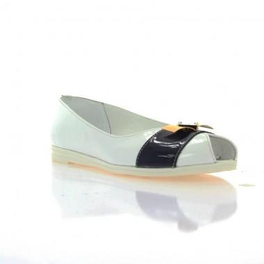 Купить Балетки женские белые/синие, кожа (2658/17 біл+сн. Лк) Roma style по лучшим ценам