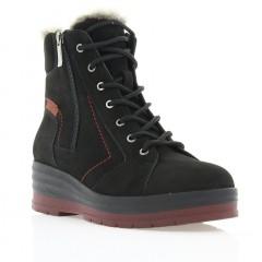 Ботинки женские черные/бордовые, нубук (2702-17 чн. Нб_борд (шерсть)) Roma style