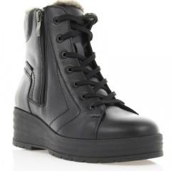 Ботинки женские черные, кожа (2702-17 чн. Шк_сір (шерсть)) Roma style