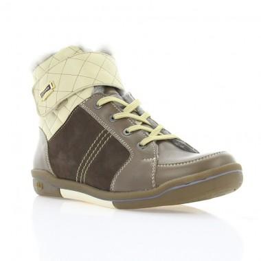 Купить Ботинки женские коричневые, кожа (2703 кор. Шк+бж.вст. (н/х)) Romastyle по лучшим ценам
