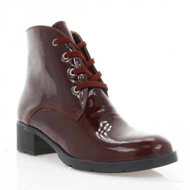 Купить Ботинки женские бордовые, лакированная кожа (2711 борд. Лк (шк. підкл)) Roma style по лучшим ценам