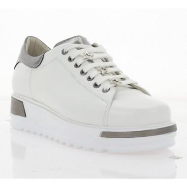 Купити Кеди жіночі білі/срібні, шкіра (2746-19 біл. Шк_графіт) Roma style за найкращими цінами