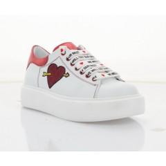 Кеди дитячі для дівчаток,білі/червоні, шкіра (2746 М біл+чер. Шк) Roma style