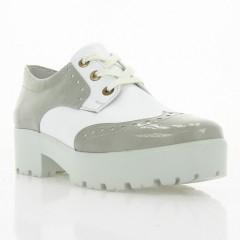 Туфли женские белые серые, лакированная кожа/кожа (2756/1 сір. Лк+біл.вст) Roma style