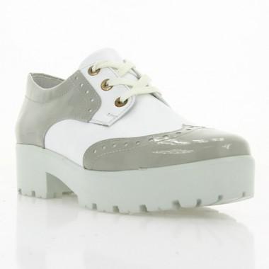 Туфлі жіночі білі/сірі, лакована шкіра/шкіра (2756/1 сір. Лк+біл.вст) Roma style