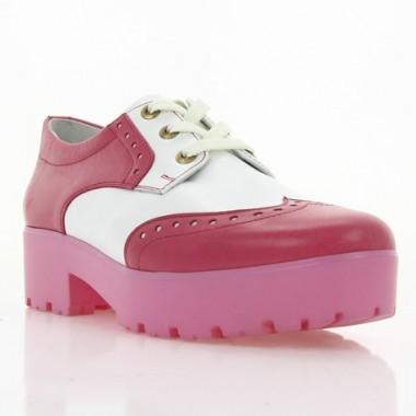 Туфли женские белые/розовые, лакированная кожа/кожа (2756/ т.рож+біл. Шк) Roma style
