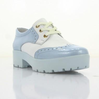 Купити Туфлі жіночі білі/голубі, лакована шкіра/шкіра (2756/1 гол+біл. Лк) Roma style за найкращими цінами