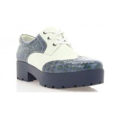 Туфли женские белые/синие, лакированная кожа/кожа (2756/1 сн. Лк+біл.вст) Roma style