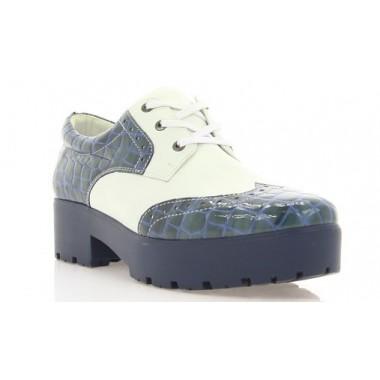 Туфлі жіночі білі/сині, лакована шкіра/шкіра (2756/ сн. Лк+біл.вст) Roma style