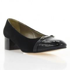 Туфли женские черные, велюр/лакированная кожа (2765 чн. Вл+Лк) Roma style