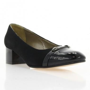 Купить Туфли женские черные, велюр/лакированная кожа (2765 чн. Вл+Лк) Roma style по лучшим ценам