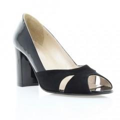 Туфли женские открытые черные, велюр/лакированная кожа (2785/17 чн. Вл+Лк) Roma style