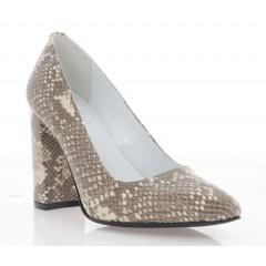 Туфли женские бежевые змея, кожа (2791-19 змія Шк) Roma style