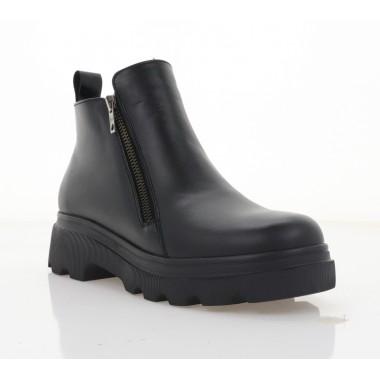 Ботинки женские черные, кожа (2817-21 чн. Шк (байка)) Roma style