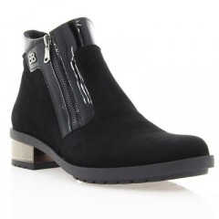 Ботинки женские черные, велю/лакированная кожа (2839 чн. Вл+Лк (байка)) Roma style