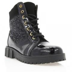 Ботинки женские черные, лакированная кожа/замш (2855-18 чн. Лк (байка)) Roma style