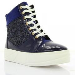 Ботинки женские синие, лакированная кожа/замш (2855 сн. Лк (байка)) Roma style