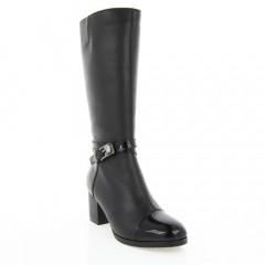 Сапоги женские черные, кожа/лакированная кожа (2860 чн. Шк+Лк (шерсть)) Roma style