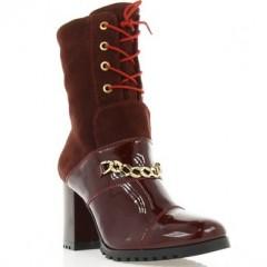 Ботинки женские бордовые, лакированная кожа/замш (2863 борд. Лк+Зш (шерсть)) Romastyle