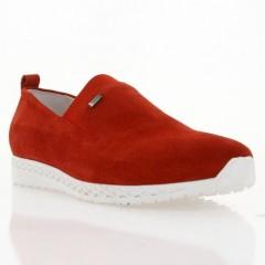 Мокасины женские красные/белые, замш (2865 черв. Зш_біла П) Roma style