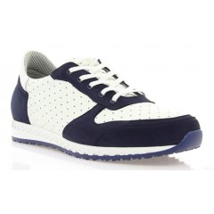 Кросівки жіночі сині/білі, шкіра/нубук (2867 сн. Нб+біл. Шк) Roma style