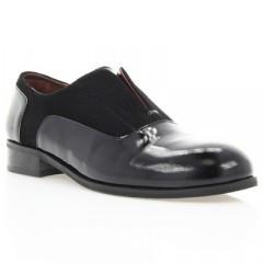 Туфли женские черные, лакированная кожа/велюр (2879 чн. Лк+Вл) Roma style