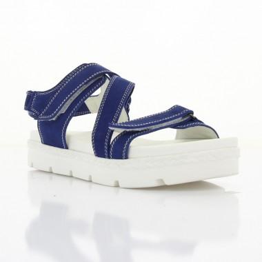 Купити Босоніжки жіночі сині/білі, нубук (2887 сн. Нб) Roma style за найкращими цінами