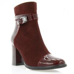 Ботинки женские бордовые, велюр/лакированная кожа (2900 борд. Лк (байка)) Roma style