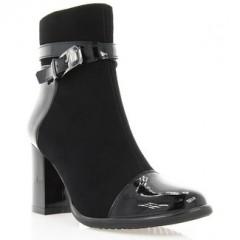 Ботинки женские черные, велюр/лакированная кожа (2900 чн. Лк (байка)) Roma style