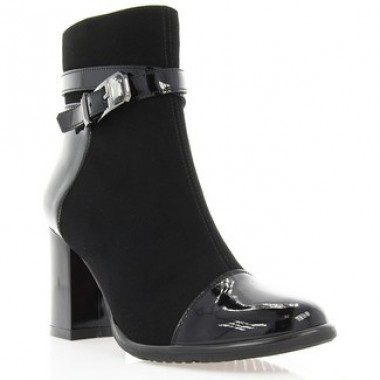 Купить Ботинки женские черные, велюр/лакированная кожа (2900 чн. Лк (байка)) Roma style по лучшим ценам