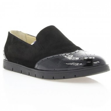 Туфлі жіночі чорні, замш/лакована шкіра (2909 чн. Лк+Зш) Roma style