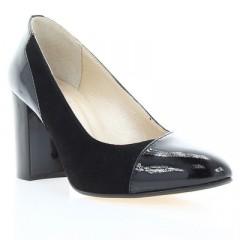 Туфли женские черные, лакированная кожа/велюр (2910 чн.Вл+Лк) Roma style