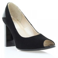 Туфли женские черные, велюр/лакированная кожа (2914 чн. Вл+Лк) Roma style