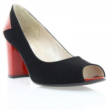 Туфли женские черные/красные, велюр/лакированная кожа (2914 чн. Вл_черв. Лк вст) Roma style