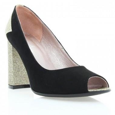 Купить Туфли женские черные/золотые, велюр (2914 чн. Вл_зол. перл. вст) Roma style по лучшим ценам