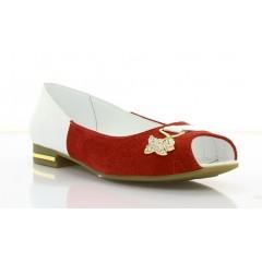 Балетки жіночі білі/червоні, лакована шкіра/замш (2919 біл. Лк+черв. Зш) Roma style