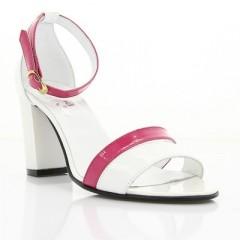 Босоножки женские белые/розовые, лакированная кожа (2926 біл+рож. Лк) Roma style