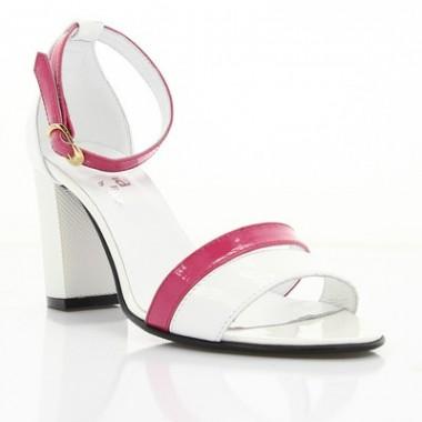 Купить Босоножки женские белые/розовые, лакированная кожа (2926 біл+рож. Лк) Roma style по лучшим ценам