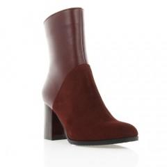 Ботинки женские бордовые, кожа/замша (2936 борд. Шк) Roma style