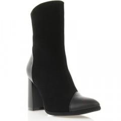 Ботинки женские черные, велюр/кожа (2937 чн. Вл+Шк) Roma style