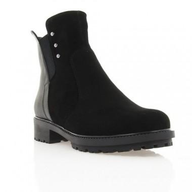 Ботинки женские черные, велюр/кожа (2951 чн. Вл+Шк (шерсть)) Roma style