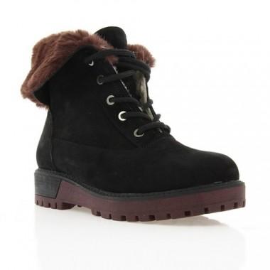 Ботинки женские черные/бордовые, замша (2973 чн. Зш (шерсть)) Roma style