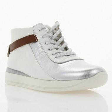 Кроссовки женские белые/серебряные, кожа (2993 біл. Шк_срібн) Roma style