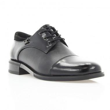 Туфли женские черные, кожа/лакированная кожа (3008 чн. Шк+Лк) Roma style