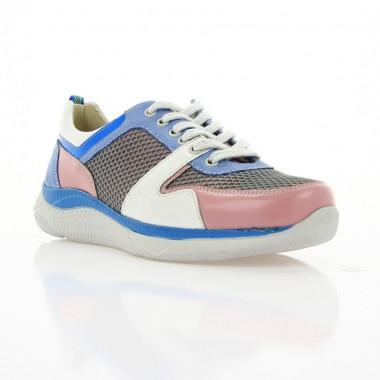 Кросівки жіночі білі/рожеві/голубі, шкіра (3000 біл/рож/гол. Шк) Roma style