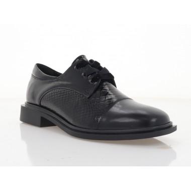Туфлі жіночі чорні,  шкіра/лакована шкіра (3008-21 чн. Шк+репт) Roma style