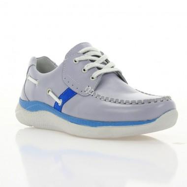 Купить Кроссовки женские серые/голубые, кожа (3011 сір. Шк_гол) Roma style по лучшим ценам