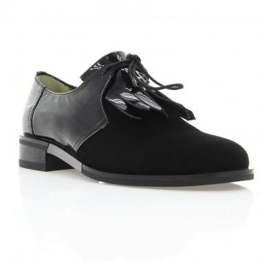 Туфли женские черные, лакированная кожа/велюр (3012 Вл+Лк) Roma style