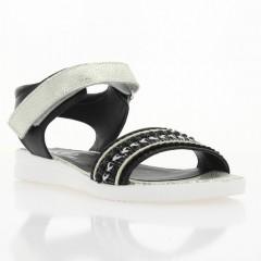 Босоножки женские черные/белые, кожа (3016 чн+біл. Шк) Roma style