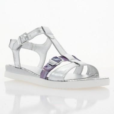 Купити Босоніжки жіночі срібні/бузкові, шкіра (3017 срібн. Шк) Roma style за найкращими цінами